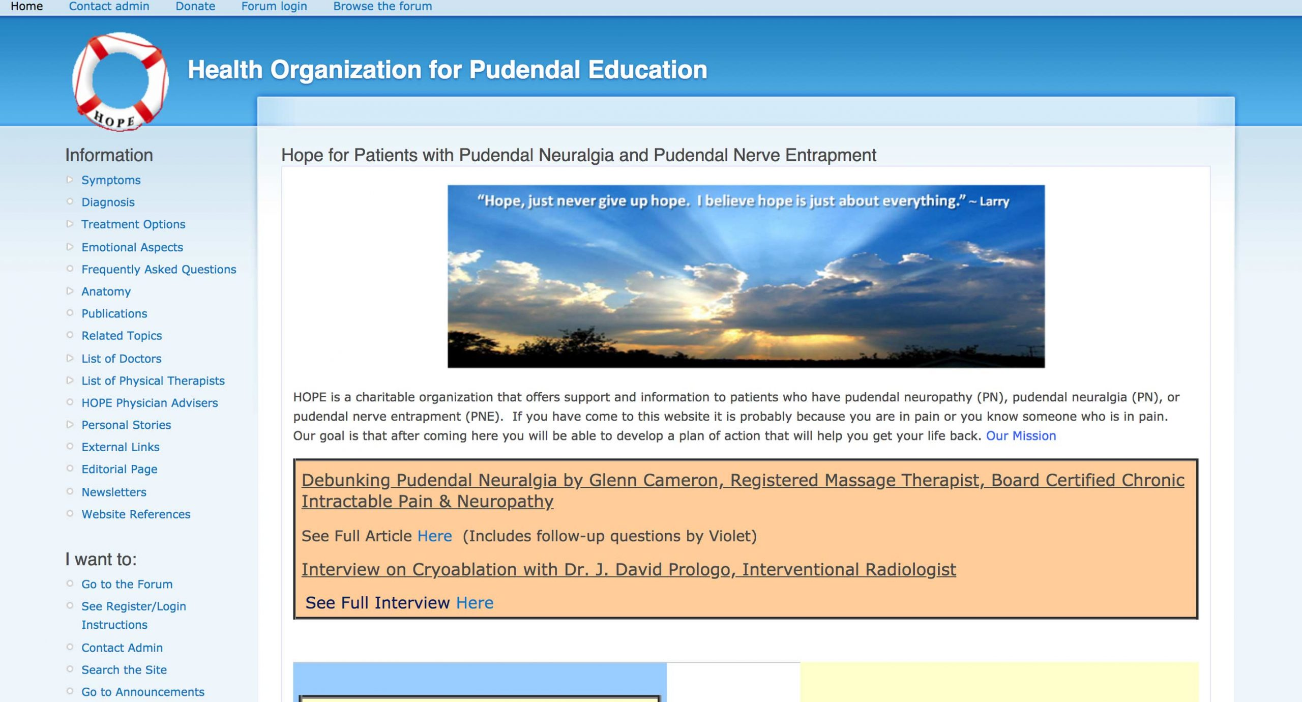 HOPE - Health Organization for Pudendal Education - Home Page
