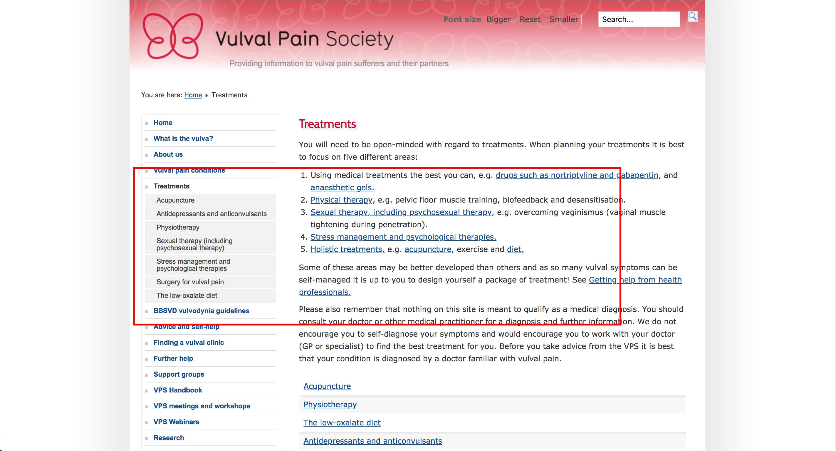 Vulva Pain Society - Free Resources, External Links