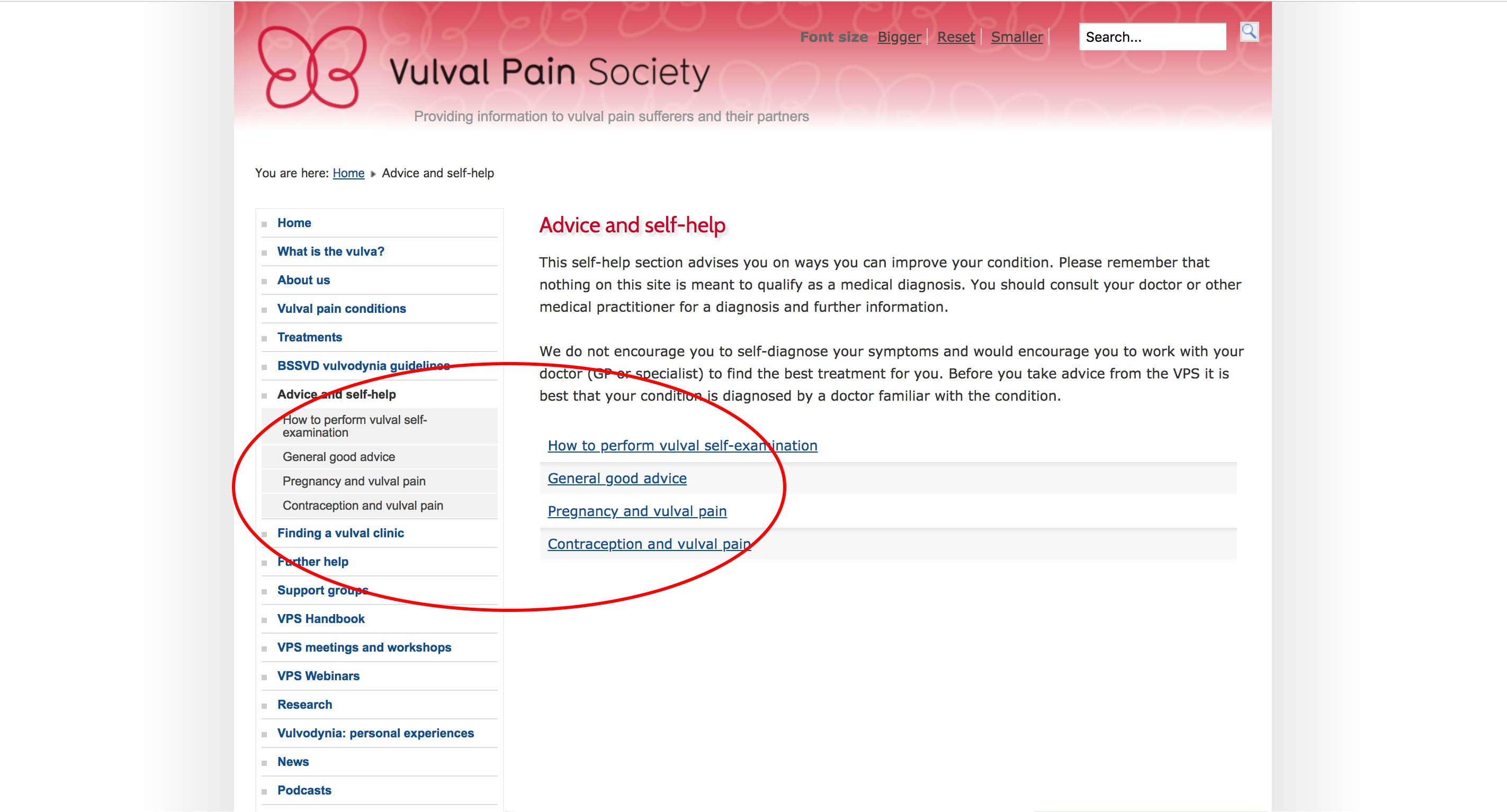 Vulva Pain Society - Free Resources