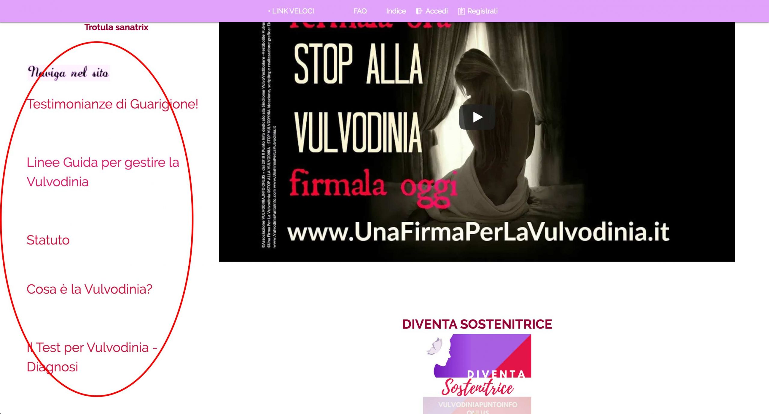 Vulvodinia Punto Info - Side navigation