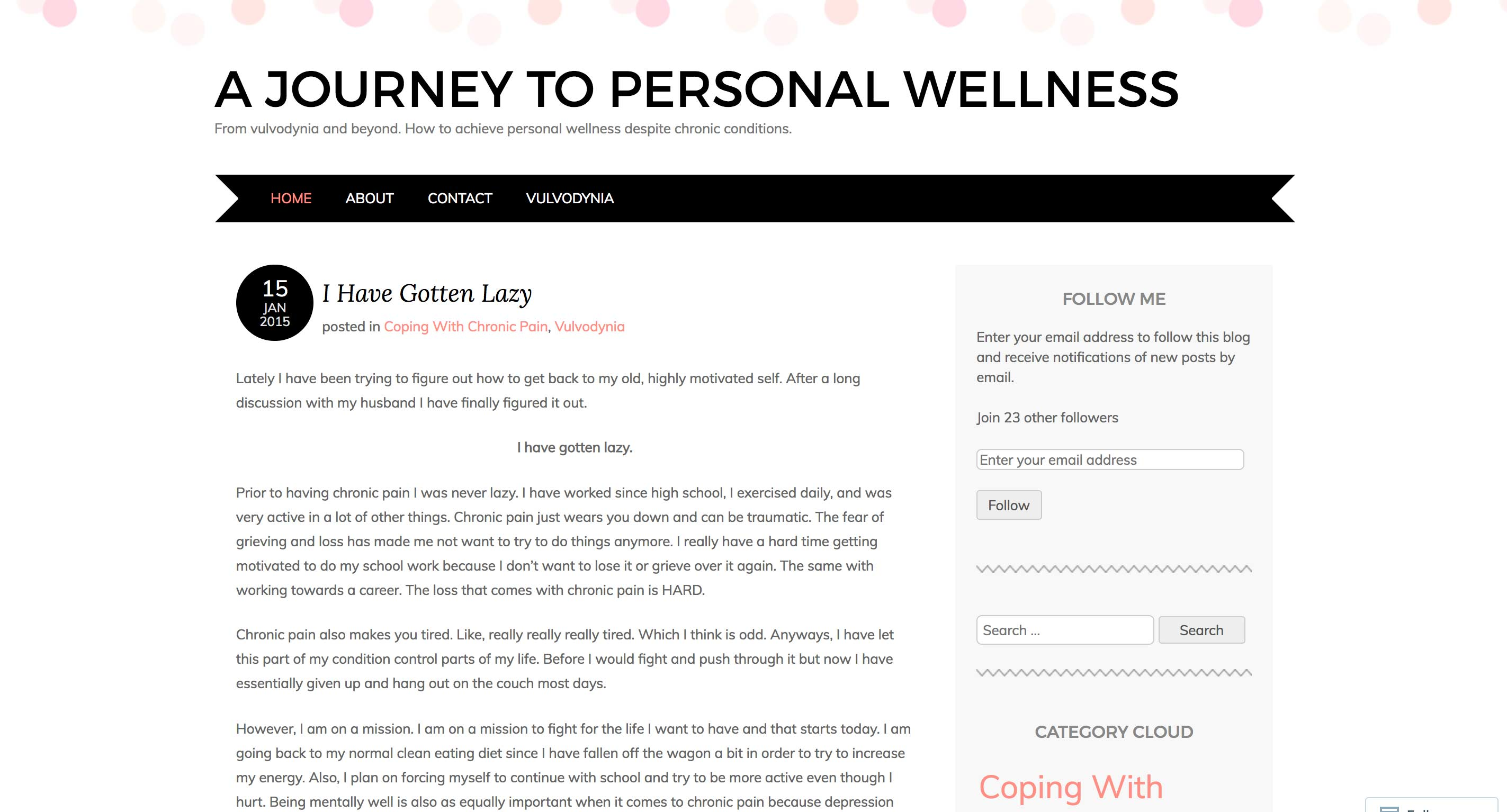 A Journal To Personal Wellness - blog about vulvodynia and chronic pain