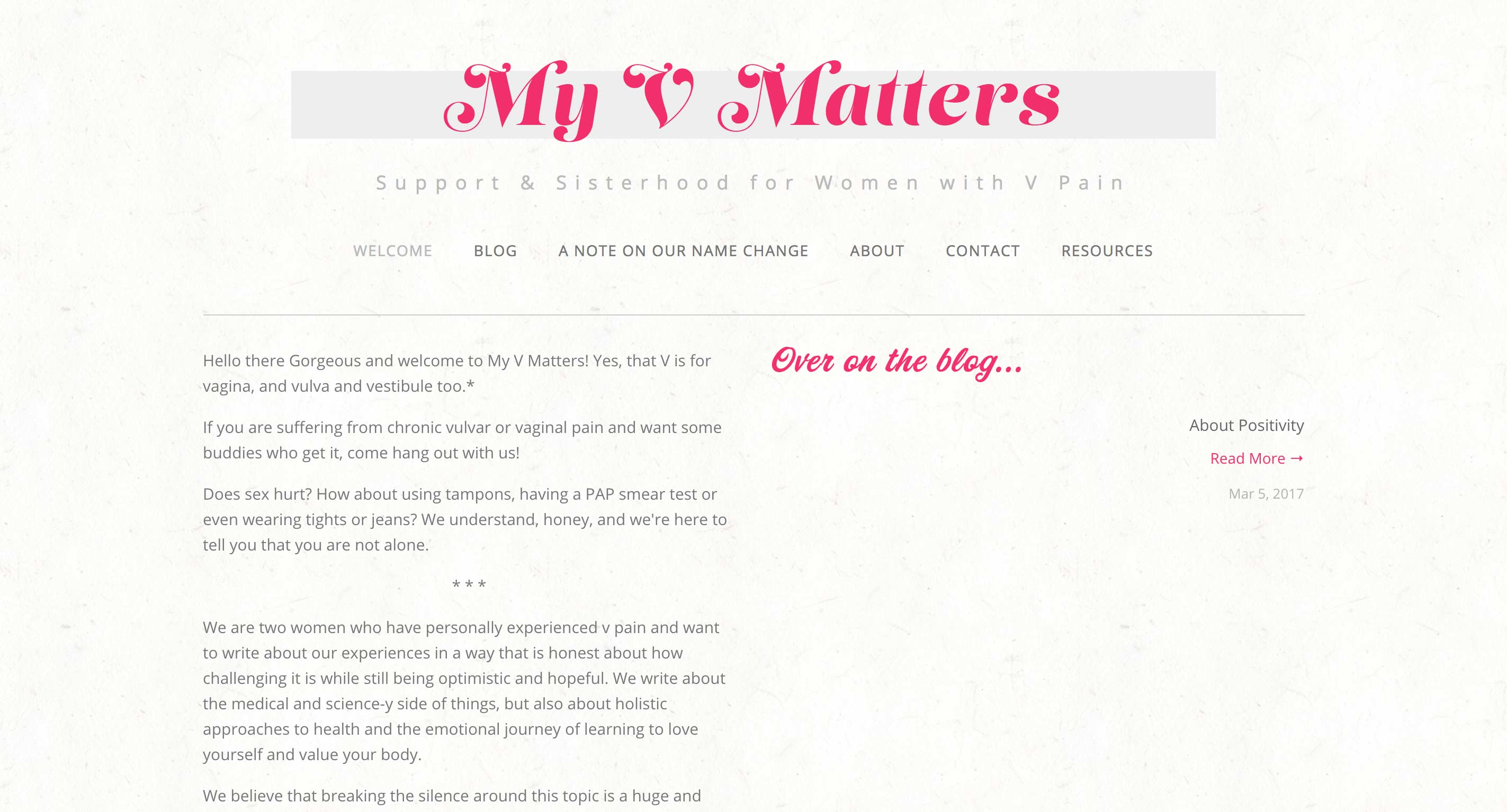 My V Matters