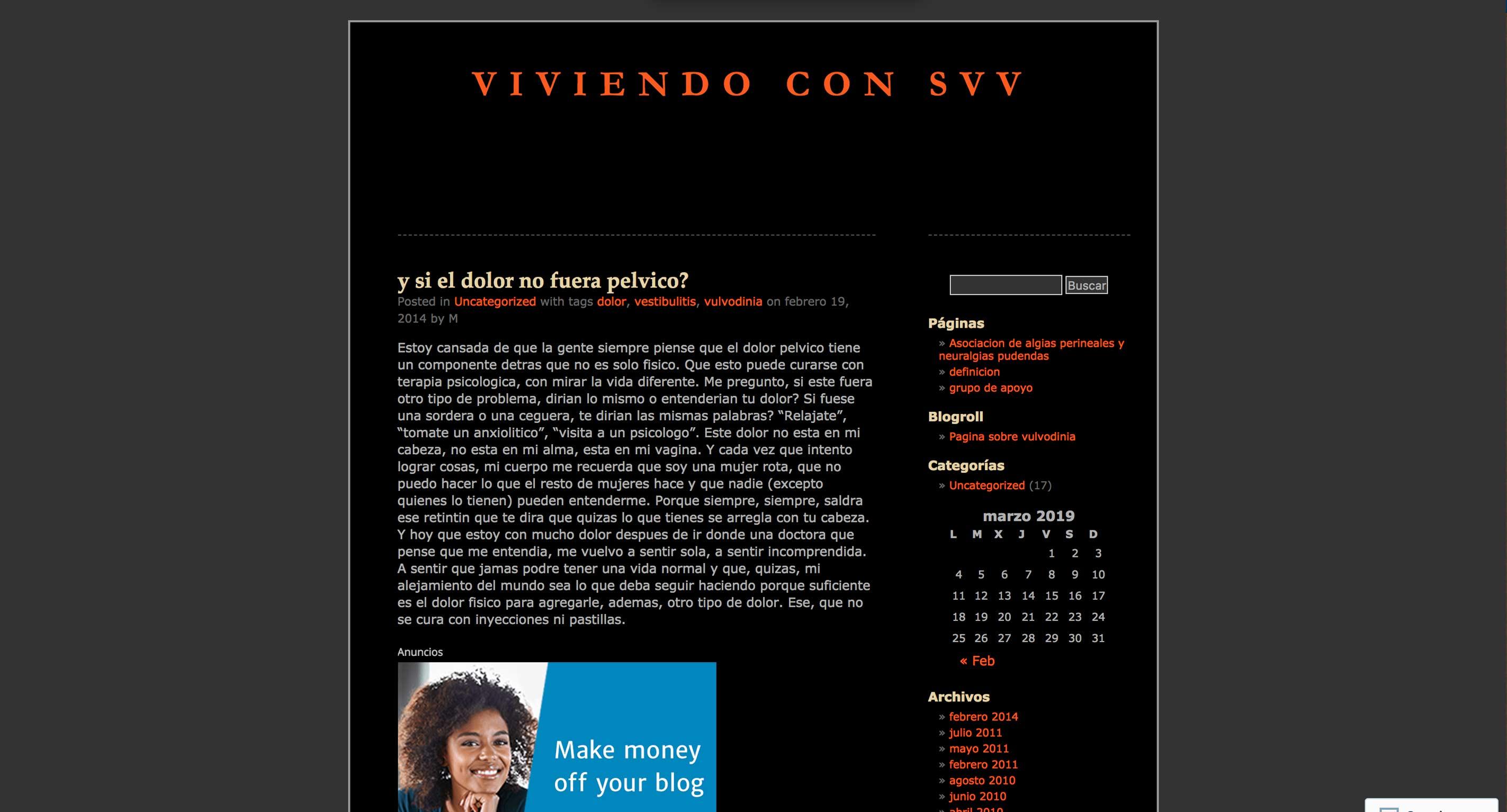 Blog about vulvodynia